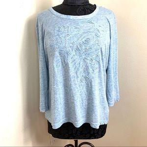 ST JHON Women's Blouse Crewneck Blue size XL